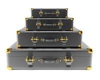 Pila di valigie di cuoio nere Fotografie Stock Libere da Diritti