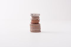 Pila di varie monete Immagine Stock Libera da Diritti