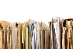 Pila di vecchi archivi cartacei. Vista orizzontale Immagini Stock