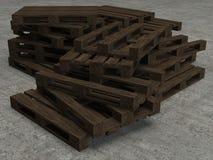 Pila di vecchi tre pallet di legno Fotografia Stock