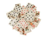 Pila di vecchia carta da gioco russa isolata su fondo bianco Fotografie Stock Libere da Diritti