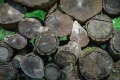 Pila di vecchio legno grigio di invecchiamento Fotografie Stock
