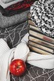 Pila di vestiti e di libri di inverno con il bordo lucido Fotografie Stock