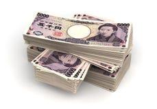 Pila di Yen giapponesi Fotografia Stock Libera da Diritti