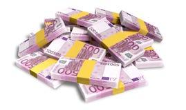 Pila dispersada notas euro Fotografía de archivo libre de regalías