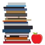 Pila e mela di libro Fotografia Stock Libera da Diritti