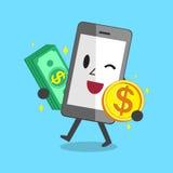 Pila e moneta di trasporto dei fondi Smartphone Immagine Stock Libera da Diritti