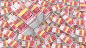 Pila enorme de chino al azar 100 cuentas de RMB stock de ilustración