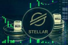 Pila estelar del xlm del cryptocurrency de la moneda de monedas y de dados La carta a comprar, venta del intercambio, se sostiene libre illustration