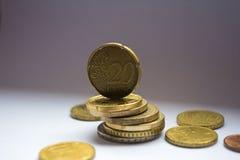 Pila euro de las monedas foto de archivo libre de regalías