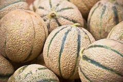 Pila fresca madura de los melones en un mercado Imágenes de archivo libres de regalías