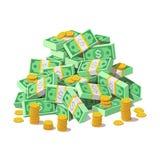 Pila grande de billetes de banco y de monedas de oro, centavos del dinero del efectivo stock de ilustración