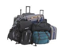 Pila grande de equipaje aislada imagen de archivo libre de regalías