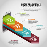 Pila Infographic de la flecha del teléfono Imagenes de archivo