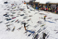 PILA, ITALY -  Lunch break for skiers on the slope in european mountain resort Stock Photography