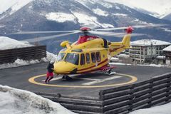 PILA, ITALY-MARCH 29, 2018: rescue helicopter manage an emergenc Stock Image