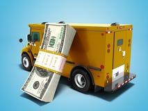 Pila moderna di concetto di trasporto di dollari in carico arancione scuro b illustrazione di stock