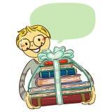 Pila que lleva del muchacho de libros con la cinta ilustración del vector