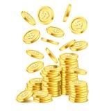 Pila realistica della moneta di oro su fondo bianco Pioggia delle monete dorate Soldi di caduta sul mucchio Posta o casinò di bin Illustrazione di Stock