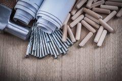 Pila rodada del martillo de garra de los modelos de pasadores y de na de la construcción Imagen de archivo libre de regalías