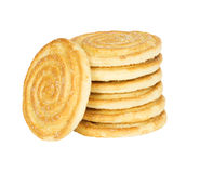 Pila rotonda del cracker, isolata Fotografia Stock