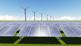 Pila solare della turbina Fotografia Stock Libera da Diritti