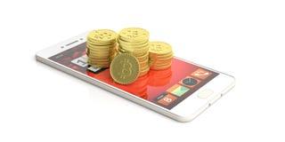 Pila su uno smartphone - fondo bianco di Bitcoins illustrazione 3D Fotografia Stock