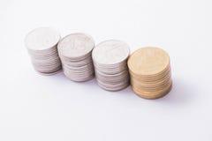 Pila tailandese delle monete Fotografie Stock Libere da Diritti