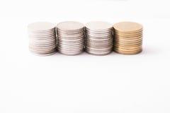 Pila tailandese delle monete Fotografia Stock