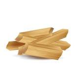 Pila tajada de madera del fuego aislada en blanco Imagen de archivo