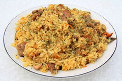 Pilaf. The most popular dish of the countries of Central Asia and the Middle East Stock Photo