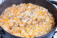 Pilaf avec des épices dans une casserole Photographie stock libre de droits