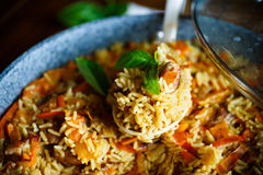 Pilaf with beef, carrots, onions, garlic, pepper and cumin. A traditional dish of Asian cuisine Stock Images