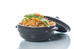Pilaf with beef, carrots, onions, garlic, pepper and cumin. Stock Photography