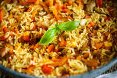 Pilaf with beef, carrots, onions, garlic, pepper and cumin. Royalty Free Stock Images