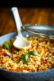 Pilaf with beef, carrots, onions, garlic, pepper and cumin. A traditional dish of Asian cuisine Royalty Free Stock Photography