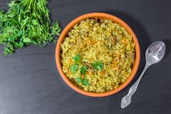 Pilaf with beef, carrots, onions, garlic, pepper and cumin. A traditional dish of Asian cuisine. Selective focus Royalty Free Stock Image