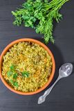 Pilaf with beef, carrots, onions, garlic, pepper and cumin. A traditional dish of Asian cuisine. Royalty Free Stock Image