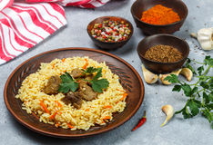 Pilaf with beef Stock Image