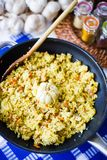 Pilaf with Beef, Carrots, Onions, Garlic and Spices, Traditional Dish of Asian Cuisine, Selective Focus. Pilaf with Beef, Carrots, Onions, Garlic and Spices Stock Photos