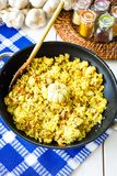 Pilaf with Beef, Carrots, Onions, Garlic and Spices, Traditional Dish of Asian Cuisine, Selective Focus. Pilaf with Beef, Carrots, Onions, Garlic and Spices Stock Photo