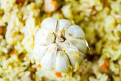 Pilaf with Beef, Carrots, Onions, Garlic and Spices, Traditional Dish of Asian Cuisine. Selective Focus Stock Photo