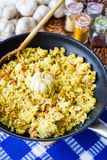 Pilaf with Beef, Carrots, Onions, Garlic and Spices, Traditional Dish of Asian Cuisine, Selective Focus. Pilaf with Beef, Carrots, Onions, Garlic and Spices Royalty Free Stock Image
