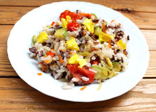 Pilaf of black and white rice. With vegetables Royalty Free Stock Images
