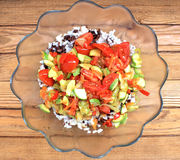 Pilaf of black and white rice. With vegetables Royalty Free Stock Photo