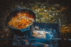 Pilaf in the cauldron on the fire royalty free stock photo