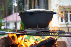 Pilaf cauldron with lattice barbecue. Royalty Free Stock Images