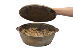 Pilaf in cauldron Royalty Free Stock Image