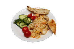 Pilaf with chicken pita bread and vegetables. isolated Royalty Free Stock Image