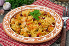 Pilaf with chicken and vegetables, close-up royalty free stock photos